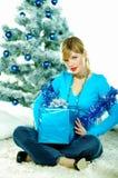 härlig blå jul Arkivfoto