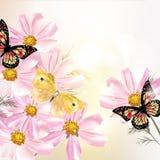 Härlig blom- bakgrund med blommor och fjärilar Royaltyfria Bilder