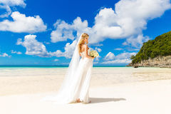 Härlig blond brud i den vita bröllopsklänningen med stor lång vit Royaltyfri Bild