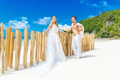 Härlig blond brud i den vita bröllopsklänningen med stor lång vit Arkivfoto