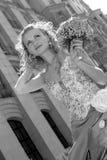 härlig bruddag henne bröllop Arkivfoto