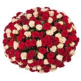 Härlig bukett för röda rosor som isoleras på vit Royaltyfri Bild