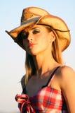 härlig cowgirl Arkivbild