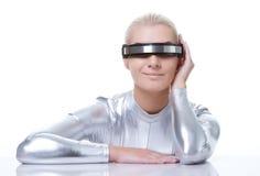 härlig cyberkvinna Royaltyfri Fotografi
