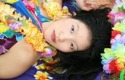 härlig drömma kvinnlig hawaii Royaltyfria Bilder