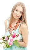 härlig elegant sundresskvinna Arkivfoto