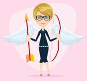 Härlig flicka i en kupidondräkt med vingar, pilbåge och Arkivfoton