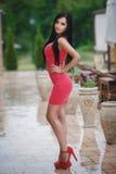 Härlig flicka i en sexig rosa färgklänning Royaltyfri Bild
