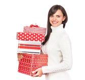 Härlig flicka med gåvor Royaltyfri Bild