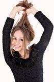 Härlig flicka med långt hår Arkivfoto