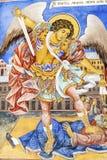 Härlig forntida freskomålning på väggen på den Rila klosterkyrkan Arkivfoto