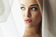 Härlig framsida av den unga blonda brudkvinnan. Flickablicken i Window.Bridal skyler. Gardiner Royaltyfria Foton