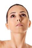 Härlig framsida av den unga kvinnan med ren ny hud Arkivbild
