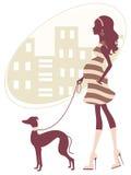 Härlig gravid kvinnawalkig med grayhound Arkivfoto