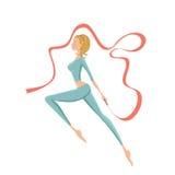Härlig gymnastisk flicka som utför med bandet Arkivbild