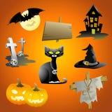 härlig halloween symbolsset Royaltyfri Bild