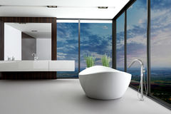 Härlig inre av ett modernt badrum Fotografering för Bildbyråer