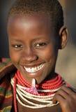 Härlig Karo kvinna i södra Omo, Etiopien Fotografering för Bildbyråer