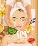 Härlig kvinna för materielvektorillustration som tar ansikts- massagebehandling i brunnsortsalongen Arkivbild