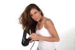 härlig kvinna för torkande hår 2 Arkivfoton