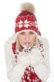 Härlig kvinna i varma vinterkläder Arkivbild