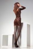 Härlig kvinna med långa sexiga ben i randiga strumpor som poserar i studion Arkivfoto