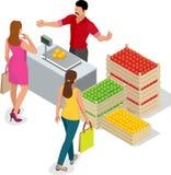 Härlig kvinna som shoppar nya frukter Fruktsäljare i en bondemarknad Ställning för att sälja frukt Spjällåda av äpplen, päron Royaltyfri Fotografi