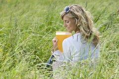 Härlig kvinnaavläsning utomhus Arkivbilder