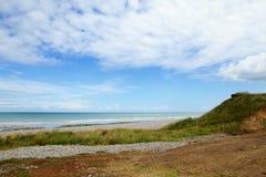 Härlig liggande av en strand i Normandy Fotografering för Bildbyråer