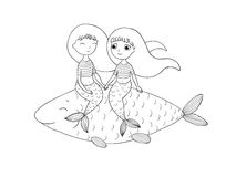 Härlig liten sjöjungfru och fisk siren Arkivbild