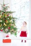 Härlig litet barngirlunder en julgran därefter Royaltyfri Foto