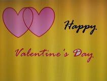 Härlig lycklig valentine& x27; så dagcitationstecken med gul bakgrund Arkivfoton