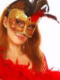 härlig maskeringskvinna Arkivbild