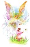 Härlig ängel med vingar som flyger över barnet, vattenfärgillustration Arkivfoto