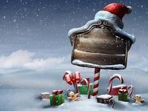 Härlig plats för dag för jultecken utomhus Arkivfoto