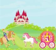 Härlig prinsessa i en vagn, prins på hästrygg Royaltyfria Foton