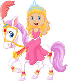 Härlig prinsessa med cirkushästen som isoleras på vit bakgrund Arkivbild