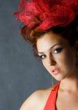 härlig red för modemodell Royaltyfri Fotografi