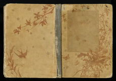 Härlig räkning av en tappningbok med den blom- ramen en tom etikett för din text Royaltyfri Foto