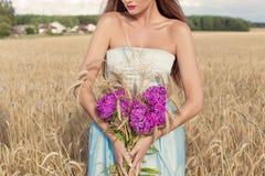 Härlig sexig slank flicka i en blå klänning i fältet med en bukett av blommor och öron av havre i hans händer på solnedgången på  Royaltyfri Foto