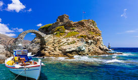 Härlig sikt av den Andros ön, Chora, Grekland Royaltyfri Fotografi