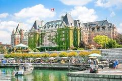 Härlig sikt av den inre hamnen av Victoria, F. KR., Kanada Arkivbild