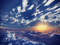 Härlig sikt ovanför moln Royaltyfri Bild