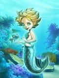 Härlig sjöjungfru med hennes älsklings- fisk Royaltyfri Bild