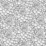 Härlig sömlös bakgrund med monokromma svartvita blommor Arkivfoto