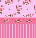 Härlig sömlös blom- modell, blommaillustration Eleganstapet med av rosa rosor på blom- bakgrund Arkivbilder