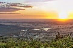 Härlig solnedgång på slotten Arkivfoton