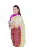 Härlig thailändsk kvinna i traditionell klänning Arkivbild