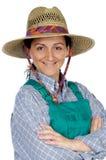 härlig trädgårdsmästarekvinna Arkivbild