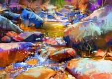 Härlig vattenfall med färgrika stenar i höstskog Royaltyfri Bild